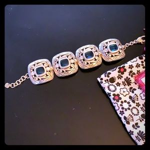 Silver with blue stones and rhinestone bracelet.